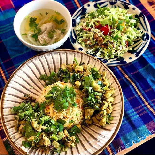 ラペ子のミャンマー料理教室生徒出来上がり写真(カチン料理)