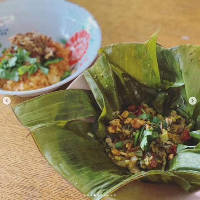 ラペ子のミャンマー料理教室参加者出来上がり写真(せんべい納豆&根ニラシャン料理)