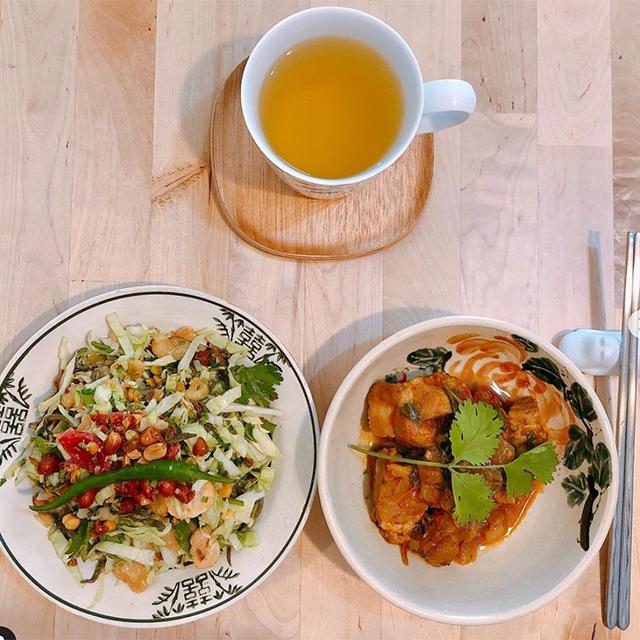 ラペ子のミャンマー料理教室参加者出来上がり写真(ラペソー&日本茶葉)