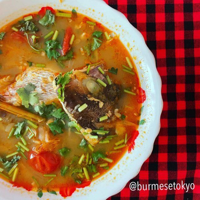 ミャンマー 魚の頭の酸っぱいスープ